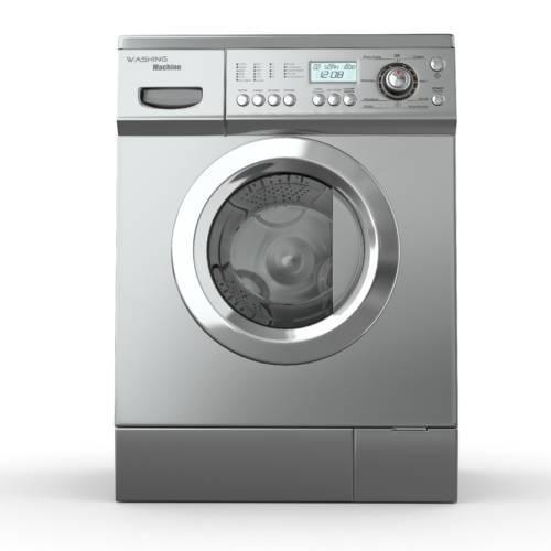 Closed washing machine on white  background. 3d